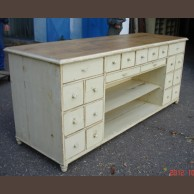 21-drawer Pine Counter / original old piece, fully restored