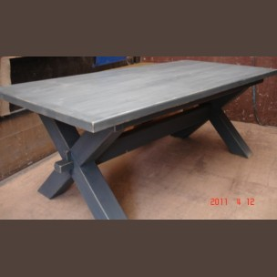 X-leg dining table made from old beams